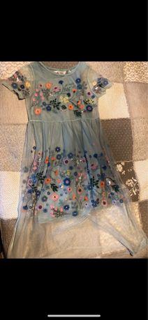 Sukienka tiulowa, haftowana h&m 140, tiul, siateczka