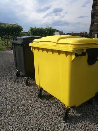 Kosz 1100 litrów, kontener na śmieci, na kółkach czarny, żółty