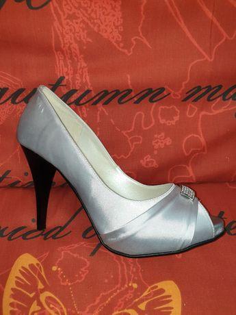 Buty ślubne srebrne wizytowe 38