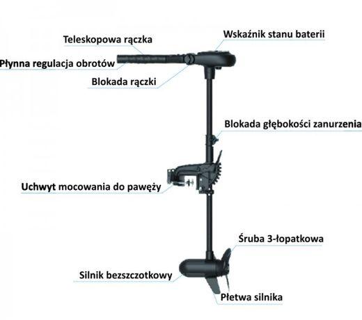 silnik elektryczny do pontonu łodzi Protruar 1.0/65 Lbs/ 12v /2kM /6kg