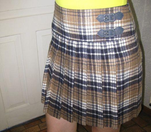 Фирменная короткая юбка клетка плиссе oodji 36 р-р подросток