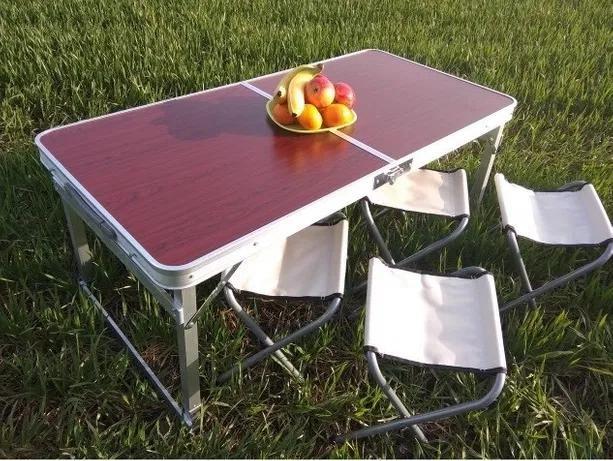 Усиленный Стол Раскладной для пикника туризма сада +4 стула чемодан