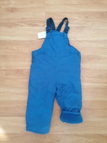 Nowe spodnie zimowe ocieplane z szelkami 86
