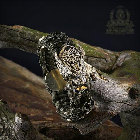 Мужской браслет из паракорда с бусинами бронза в скандинавском стиле