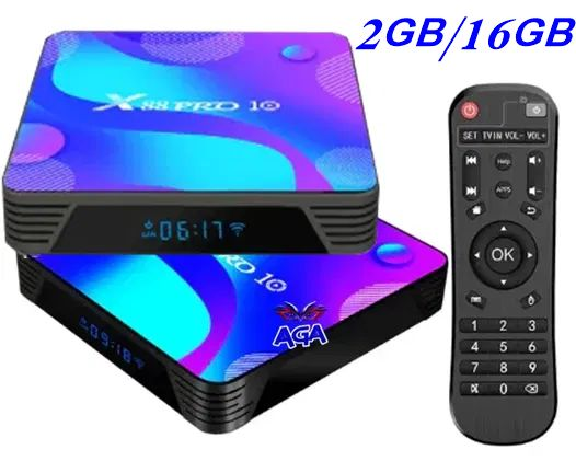 TV BOX 2/16GB 4K Pro Android 10 LCD + Pilot + Przewód