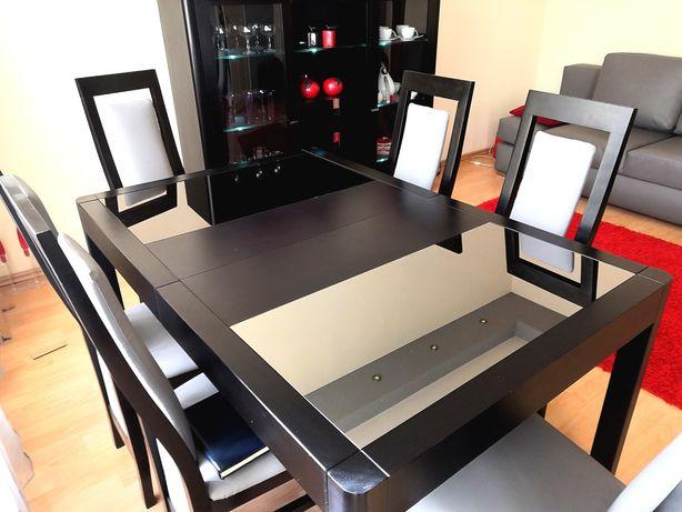 Stół drewniany dębowy z krzesłami komplet rozkładany