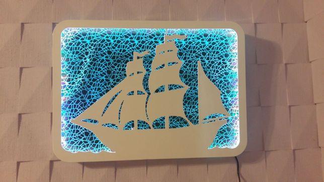 obraz 3D , statek, podświetlany
