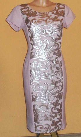 Sukienka ołówkowa pudrowy róż marki Risca r.40- nowa