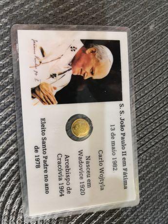 Cartão com medalha Papa João Paulo II