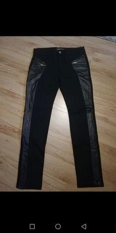 Spodnie czarne nowe wstawki ze skóry rozm 33