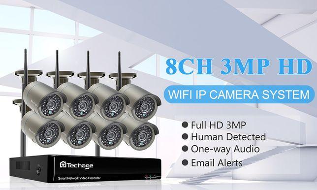 Kit Vídeo Vigilância WIFI Profissional 8 Cameras Exterior 1080P