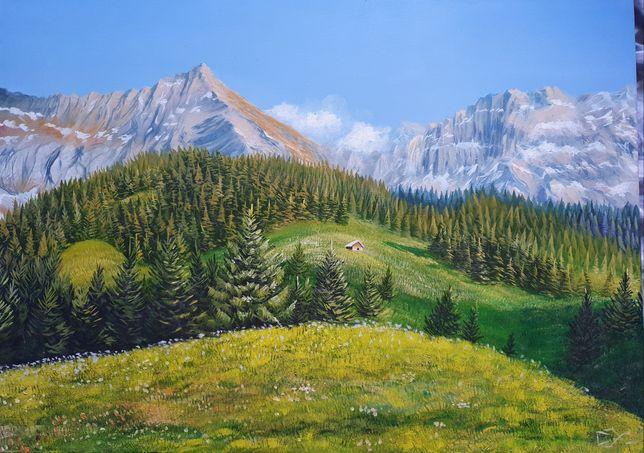 Горный пейзаж,  холст 50х70, масло