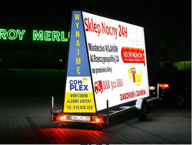 Reklama mobilna Przyczepa reklamowa Baner Billboard Wynajem reklamy