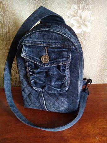 Джинсовый рюкзак унисекс ручной работы