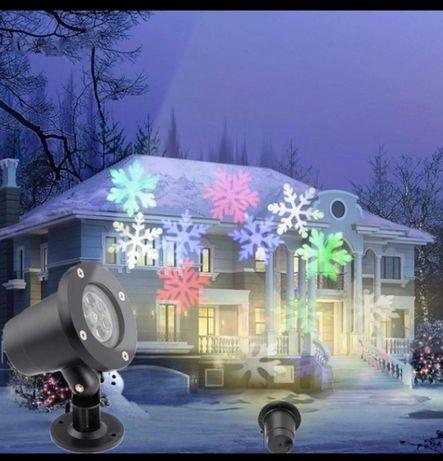 Уличный проектор лазер диско шар проэктор снежинки штора водопад хвост