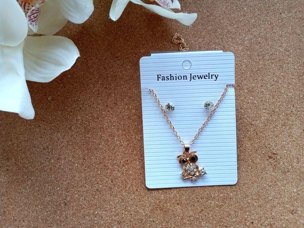 Набор серёжки-гвоздики и подвеска сова Fashion Jewerly