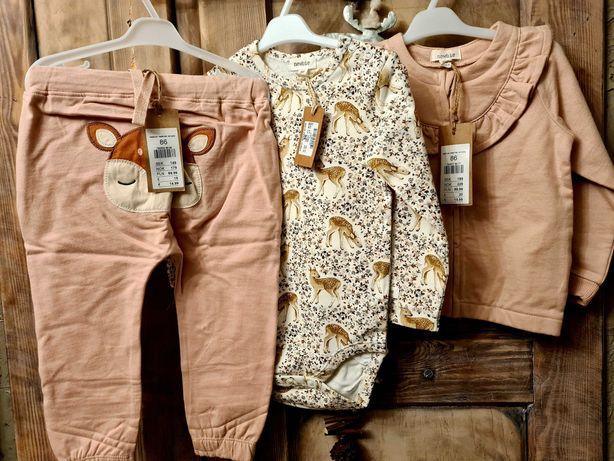 Newbie body 86 bluza 86 spodnie 86 nowe z metkami