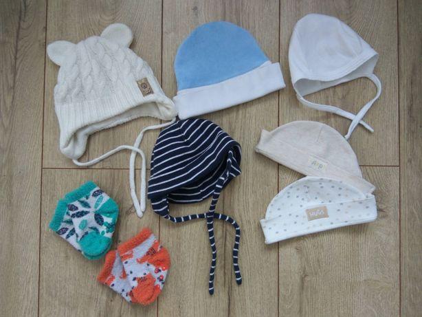 Zestaw czapeczek niemowlęcych dla noworodka + ciepłe skarpetki