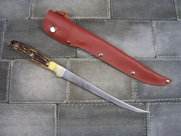 Ciekawy Myśliwski nóż Elk Ridge z pochwą skórzaną