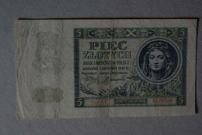 banknot 5 złotych 1941