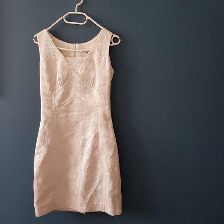 sukienka koktajlowa elegancka Monnari XS ecru