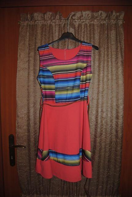 Letnia, kolorowa sukienka z paskiem rozm. 36-38
