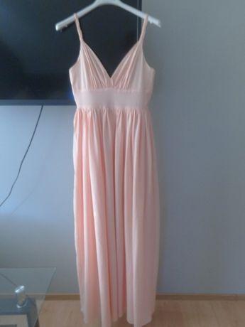 Długa Sukienka Lou Raschelle Brzoskwiniowa S