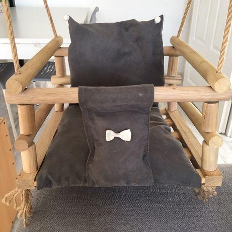 Huśtawka drewniana dziecięca niemowlęca z siedziskiem grube liny