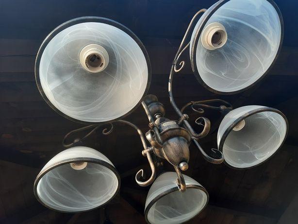 Żyrandol Lampa 5 -ramienna firmy JUPITER patyna/stare złoto +kinkiety