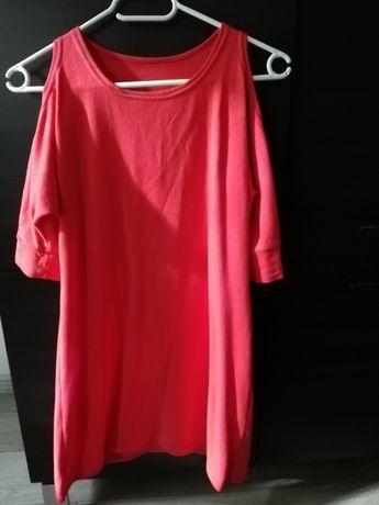 Czerwona sukienka z odkrytymi ramionami, rozm 152 cm