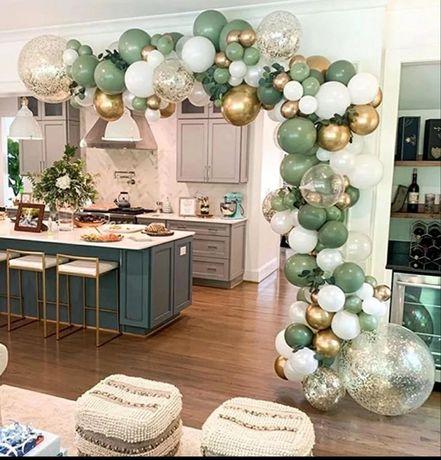 Balony zestaw złote zielone leśne urodziny roczek jungle