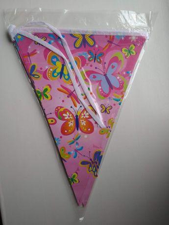Гирлянда флажки розовые бабочки с днем рождения декор растяжка