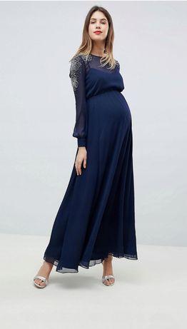 Piękna długa suknia ciążowa 40 L granatowa maxi