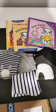 Zestaw ubranek i książeczek dla dzieci