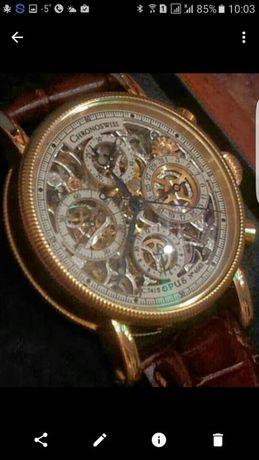 Золотые Швейцарские часы Opus Skeleton Chronograph