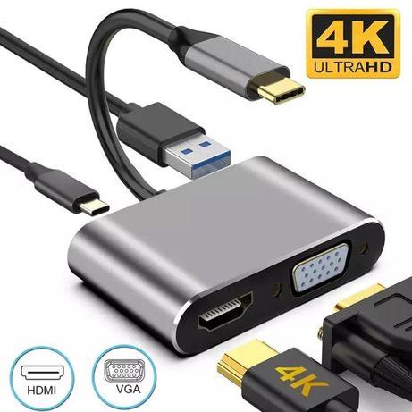 Adapter 4w1 Hub USB-C HDMI VGA 4K Macbook Pro