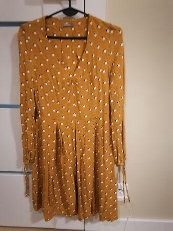 Sukienka firmy Orsay rozmiar 36/S, żółta,musztardowy, czarna, kropki