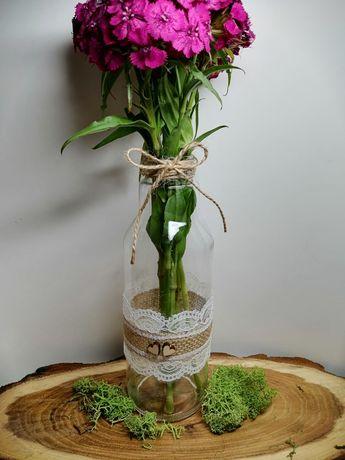 Wazony na kwiaty ślub rustykalne wesele juta dekoracja butelki