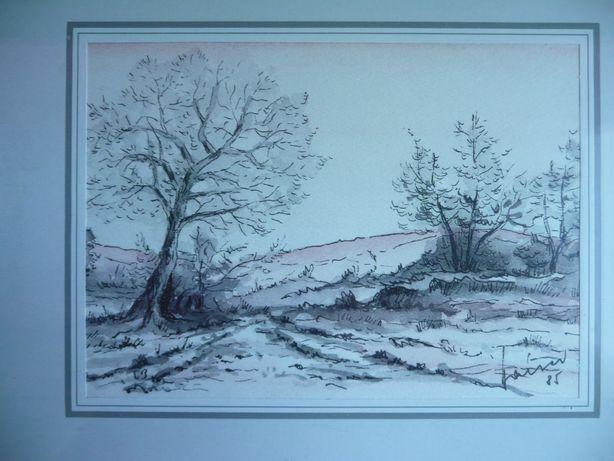 sygnowany obraz polna doga, drzewa zimowy pejzaż zima