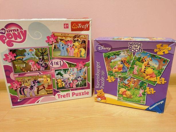 Puzzle 2 paczki- My Litte Pony 4el.+ Kubuś Puchatek 3el.