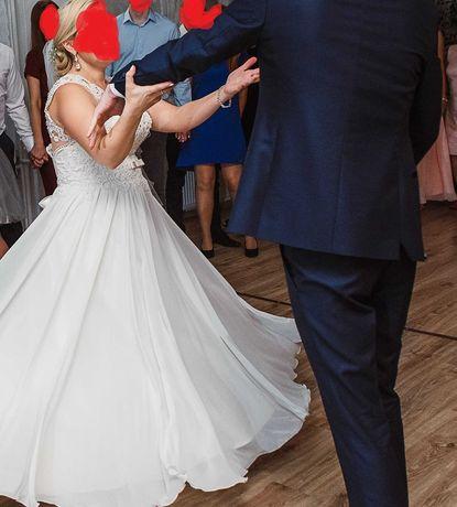 Suknia Ślubna ecru r. L-ciążowa gratis bolerko