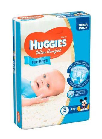 Подгузники Детские Huggies Ultra Comfort №3, 5-9 Кг., 80 Шт.