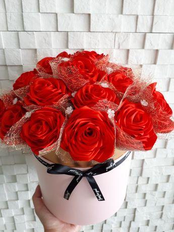 Flower box ze wstążki satynowej