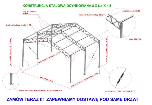 Konstrukcja 8x6.4 stalowa ocynkowana hala wiata garaż