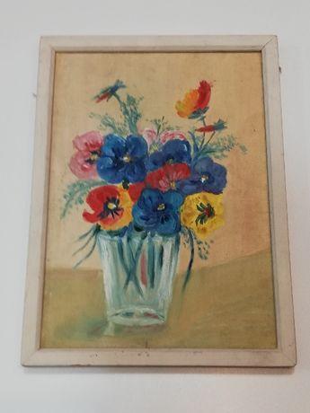 Obrazek malowany na płótnie kwiaty ramka drewniana 26x35 cm