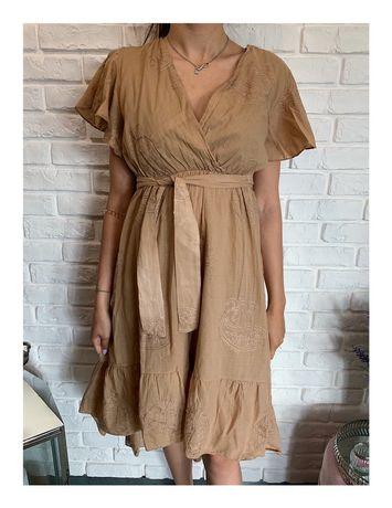 Brązowa asymetryczna sukienka midi z wiązaniem i falbankami S M L XL