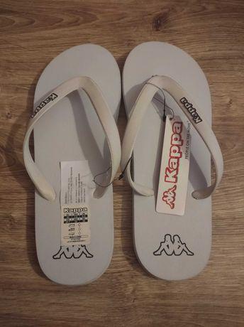 Nowe japonki damskie KAPPA białe klapki plaża basen r 40 25,7 cm