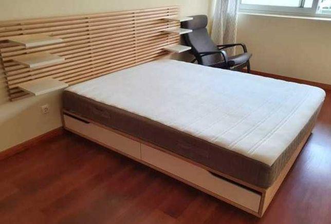 Estrado cama casal IKEA + cabeceira IKEA