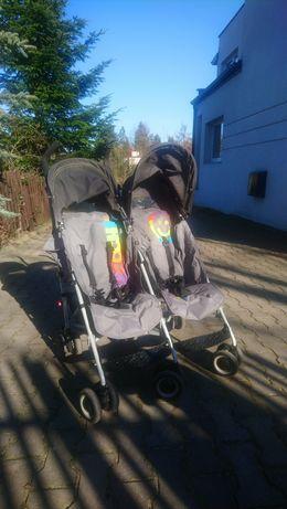 Wózek bliźniaczy KOOCHI RAINBOW bliźniak spacerówka parasolka