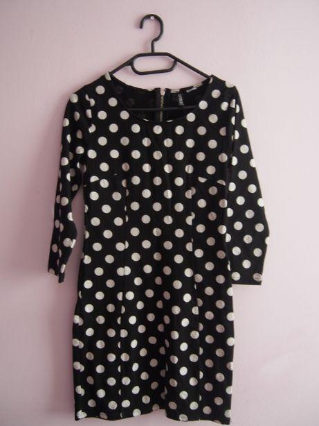 Czarna sukienka mini w białe kropki H&M 36/S